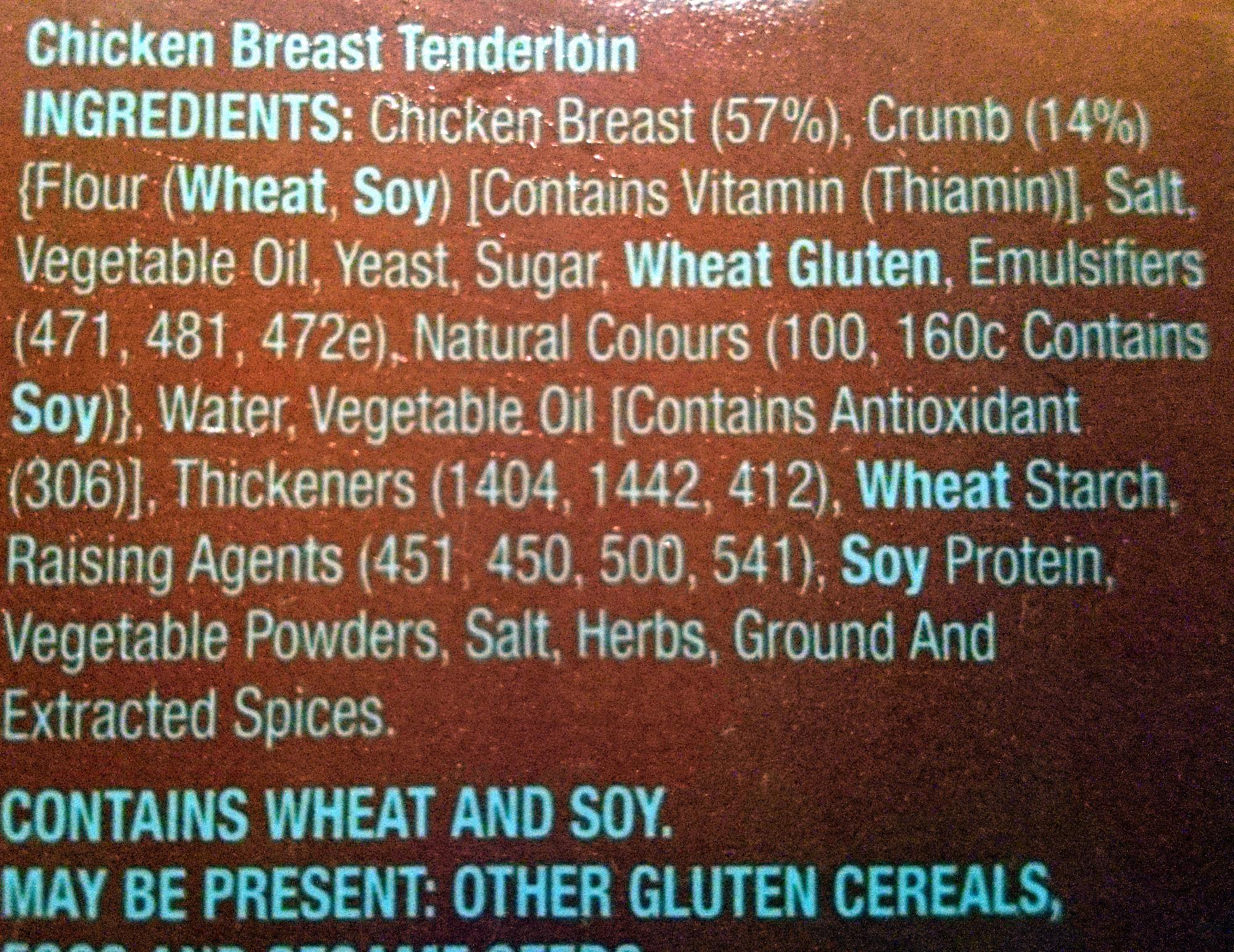 Chicken breast tenders - Ingredients - en