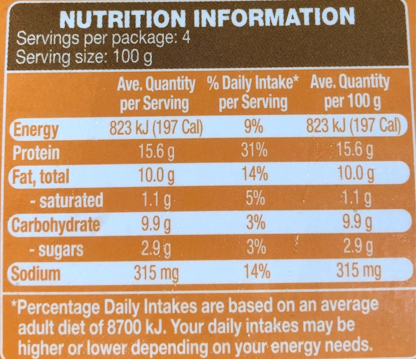 Chicken breast tenders - Nutrition facts - en