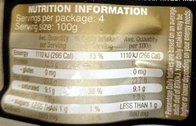 Provedore Bratwurst - Nutrition facts