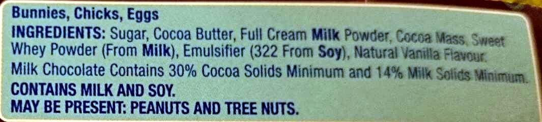 Milk Chocolate Easter Figures - Ingredients - en