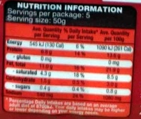 Smoked Middle Bacon Rind On - Nutrition facts