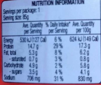 Shredded Chicken Breast - Informations nutritionnelles
