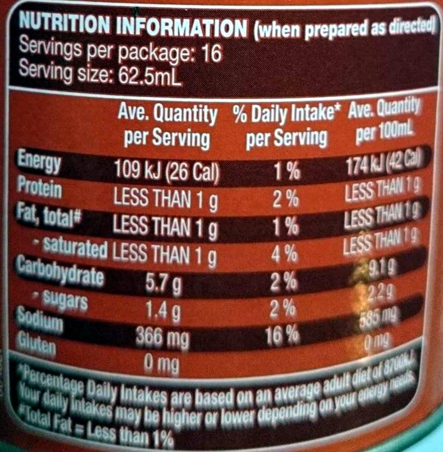 Instant Gravy Mix Traditional Roast Meat Flavour - Voedingswaarden - en