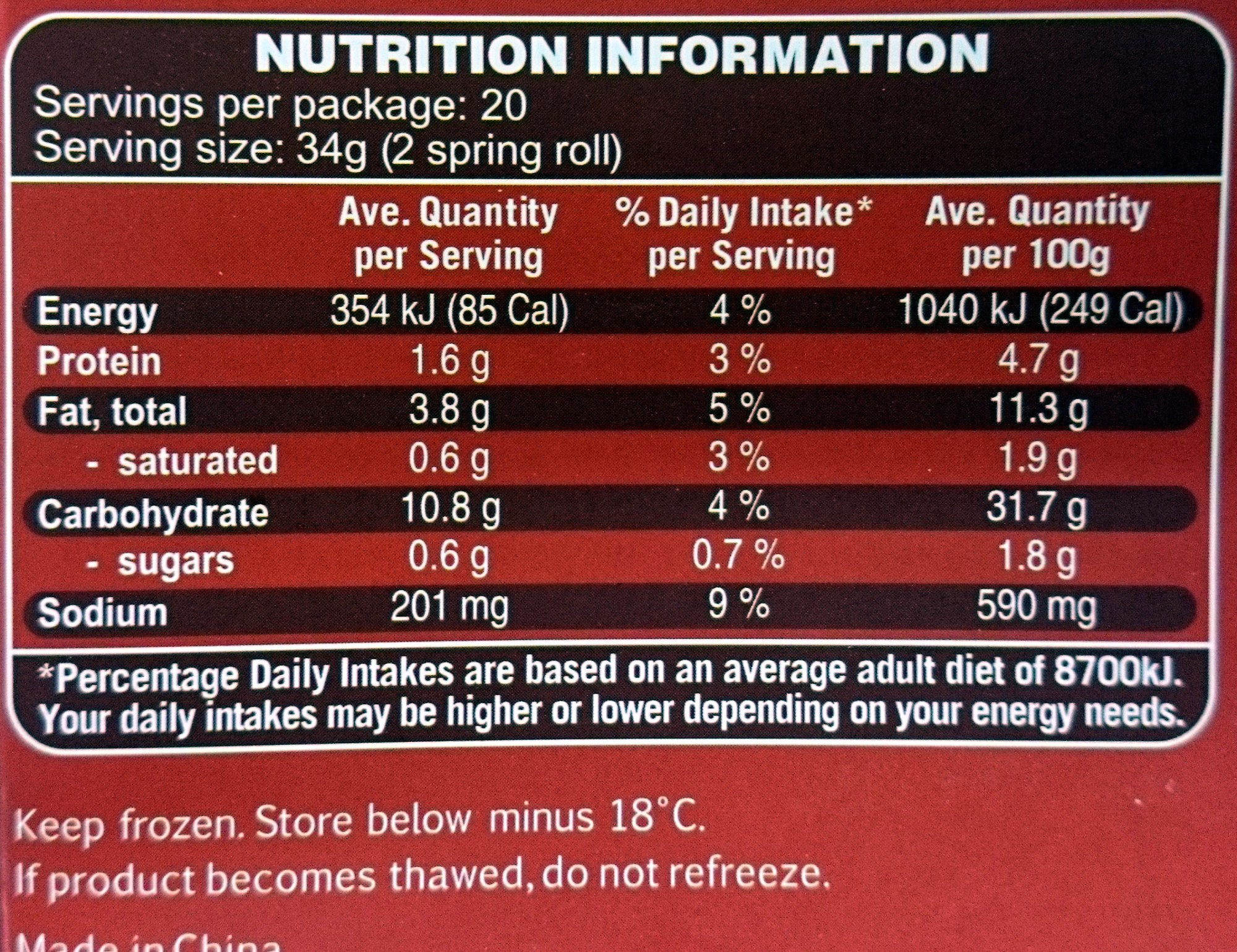 Chinese Style Cocktail Vegetable Spring Rolls - Nutrition facts - en