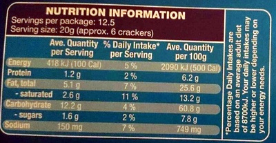 Topz Crackers Original - Nutrition facts - en