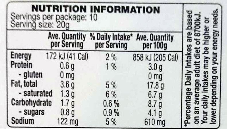Guacamole Avocado Dip - Nutrition facts - en