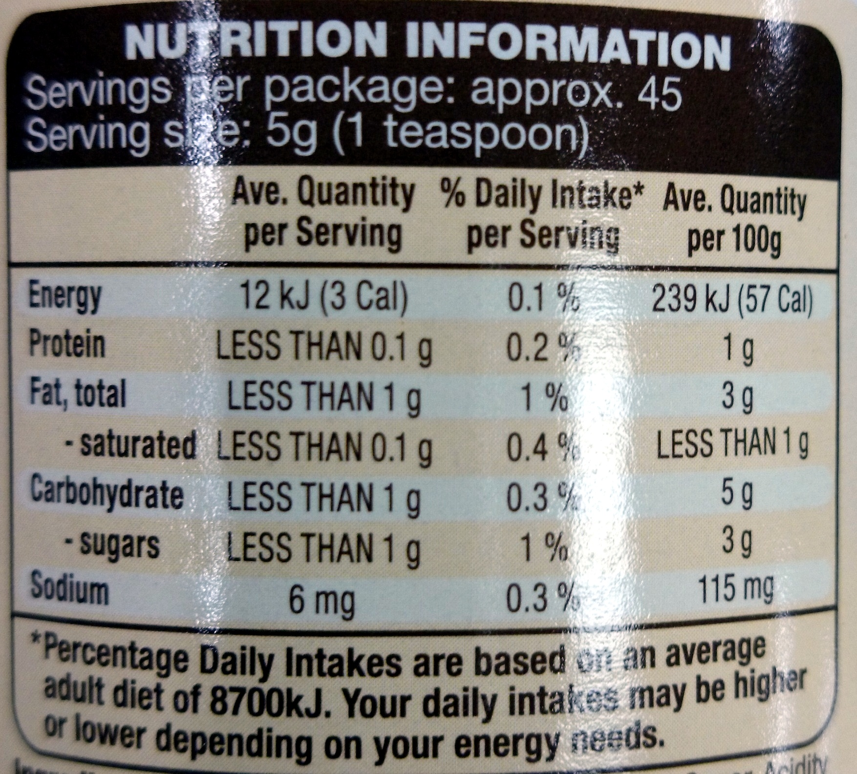 Stonemill Crushed Chilli - Nutrition facts