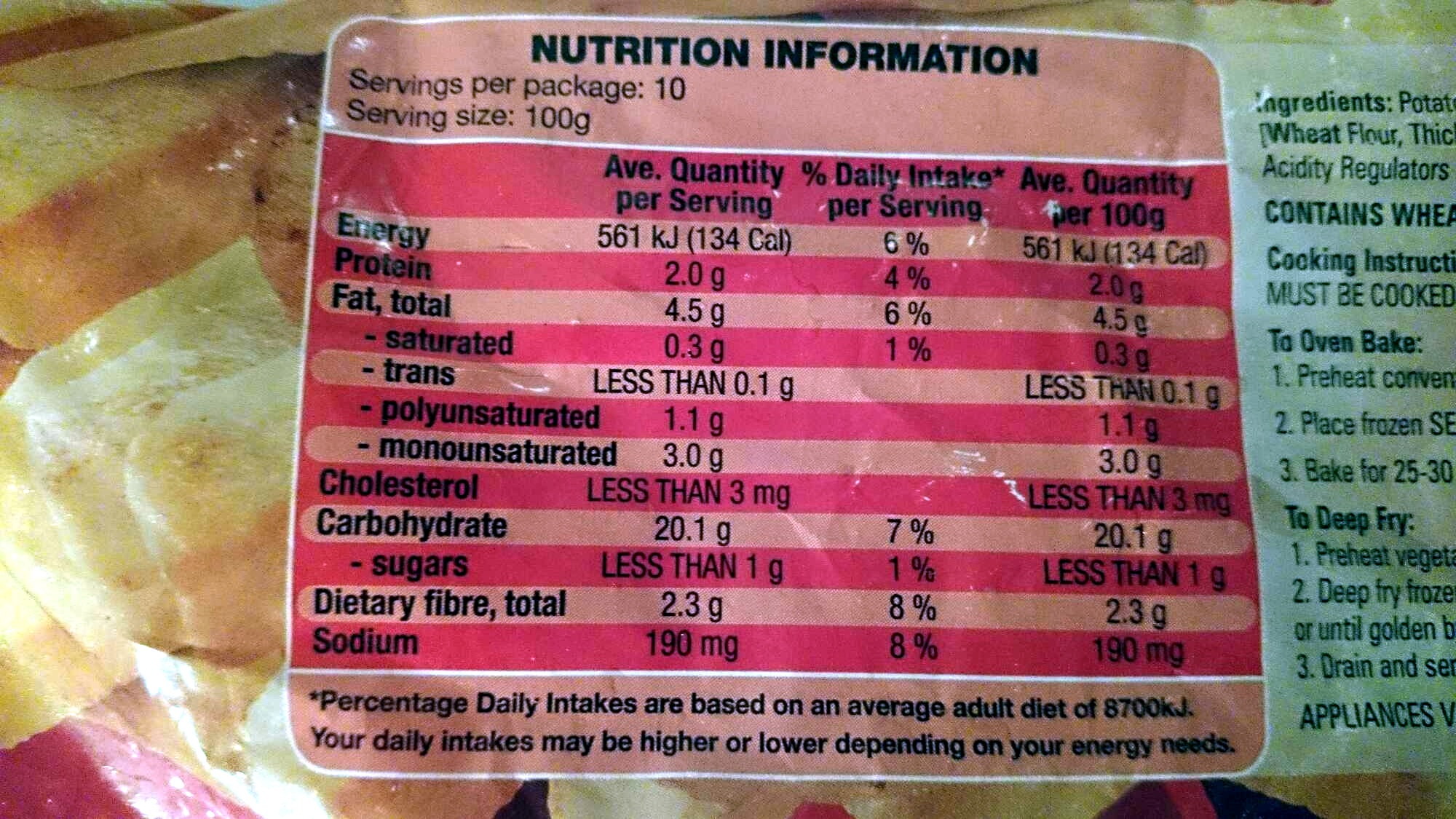 Super Crunch Chips - Nutrition facts