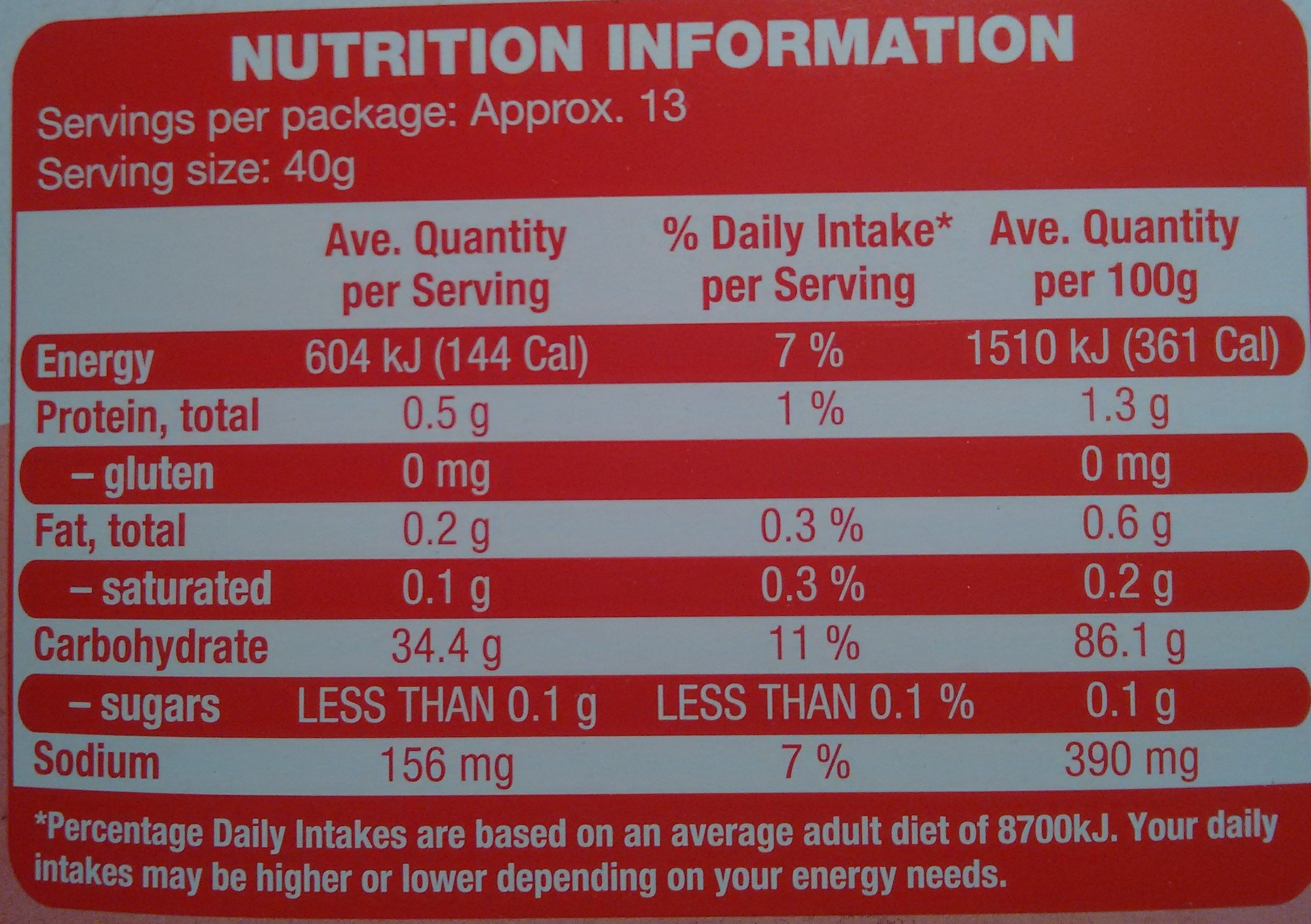 Gluten Free Self Raising Flower - Nutrition facts - en