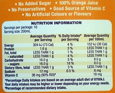 Country Orchard 100% Orange Juice - Nutrition facts