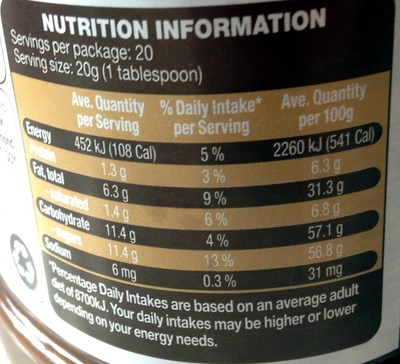 Choc Hazelnut Product spread - Nutrition facts