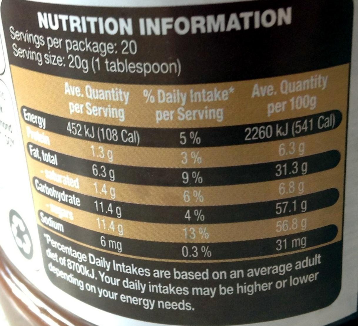 Choc Hazelnut Product spread - Nutrition facts - en