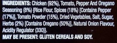 Chicken Tenderloin Skewers - Tomato, Pepper & Oregano - Ingredients