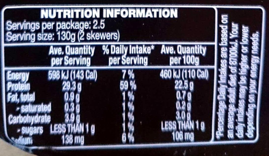 Chicken Tenderloin Skewers - Tomato, Pepper & Oregano - Nutrition facts - en
