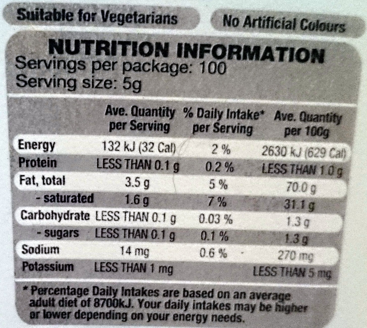 Beautifully Butterfully Salt Reduced - Nutrition facts