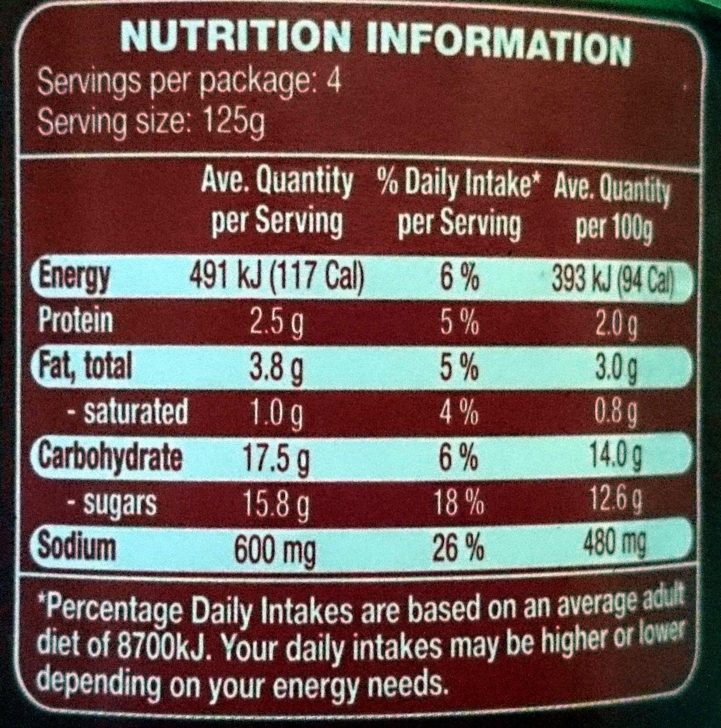 Casa Barelli Pasta Bake Sundried Tomato - Nutrition facts