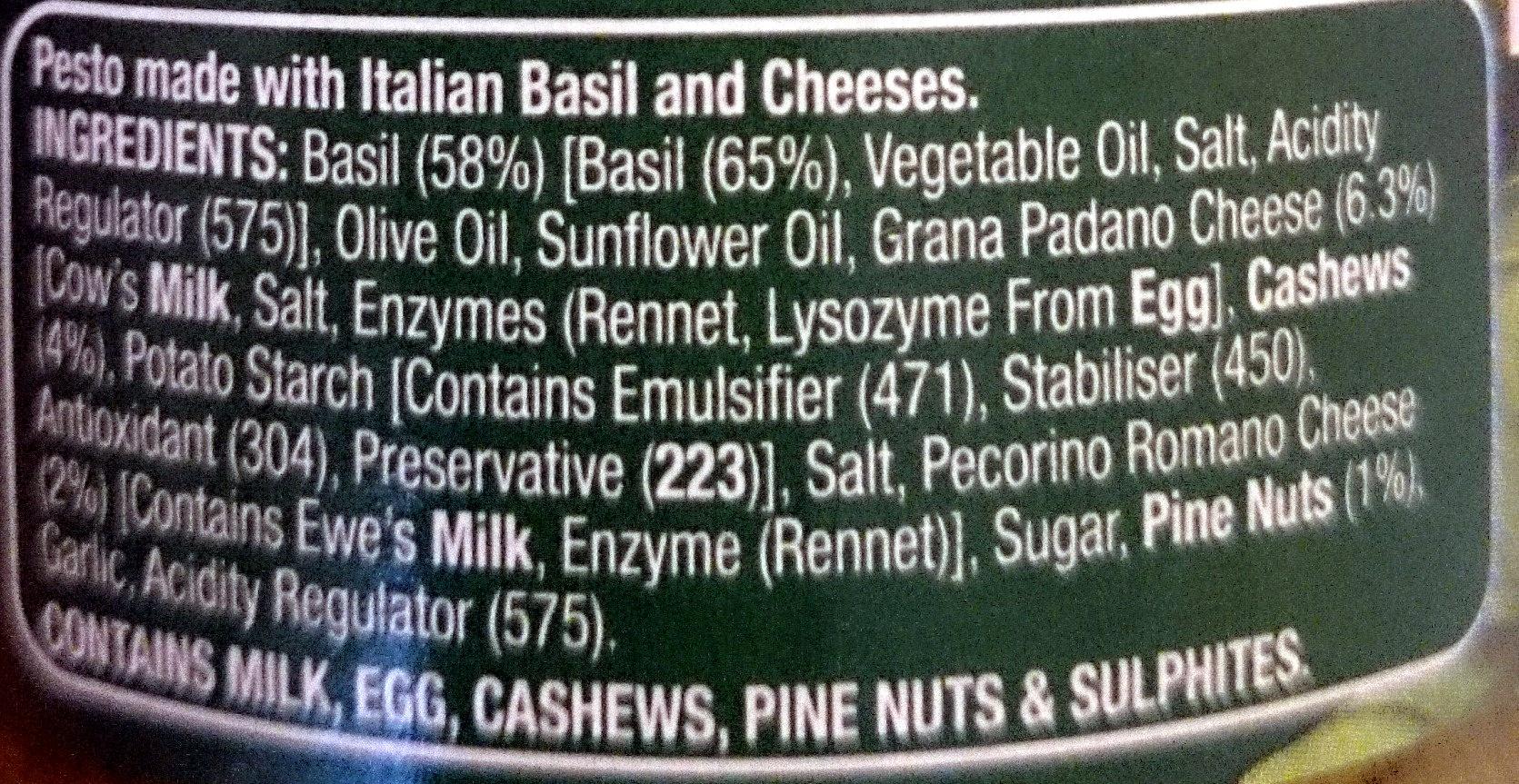 Remano Basil Pesto - Ingredients - en