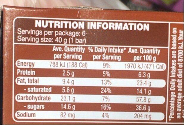 Oat Bars Choc Chip - Nutrition facts - en