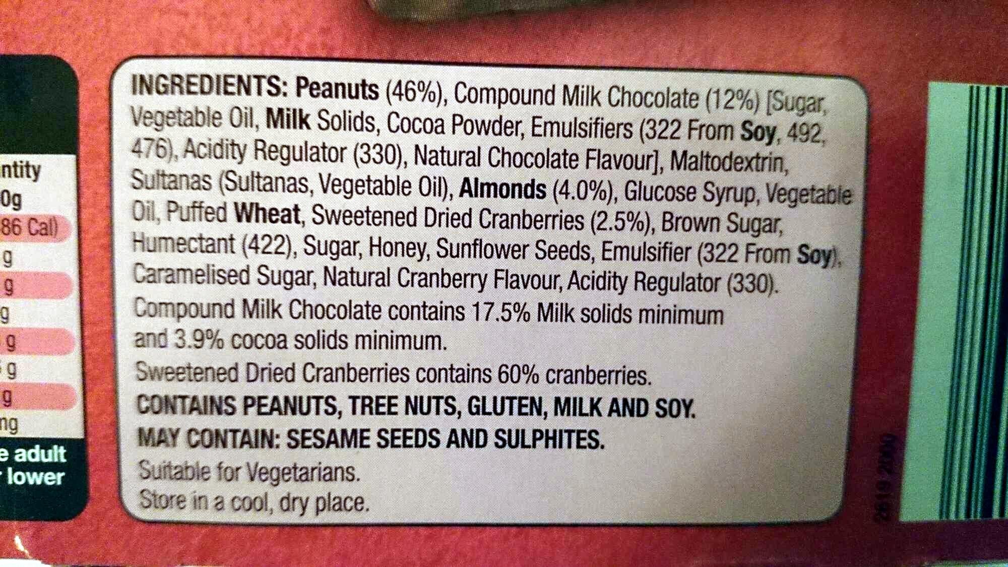 Nut Bars Choc Almond & Cranberry - Ingredients - en