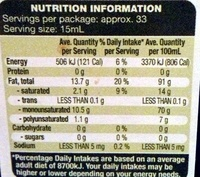 Extra Virgin Olive Oil - Just Organic - Nutrition facts