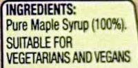 100% Pure Canadian Maple Syrup - Ingredients