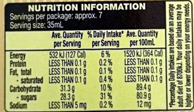 100% Pure Canadian Maple Syrup - Nutrition facts