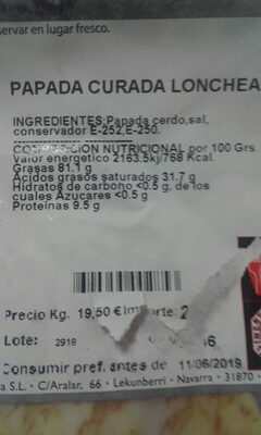papada curada - Nutrition facts