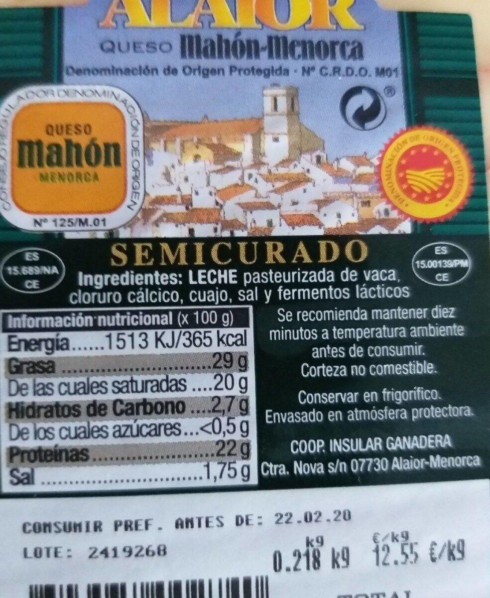 Mahón-Menorca - Voedingswaarden - es
