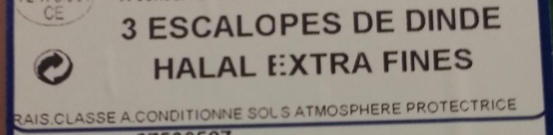 Escalopes de dinde Halal (x 3) extra fines - Ingrédients