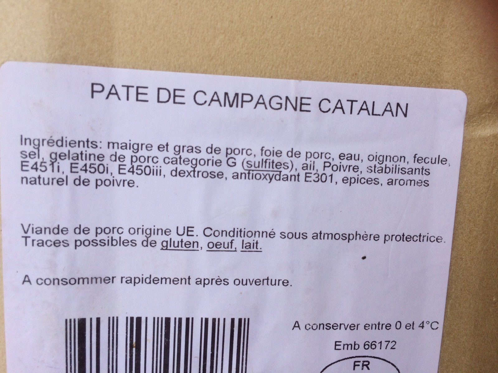 Pâté de campagne catalan - Ingredients - fr