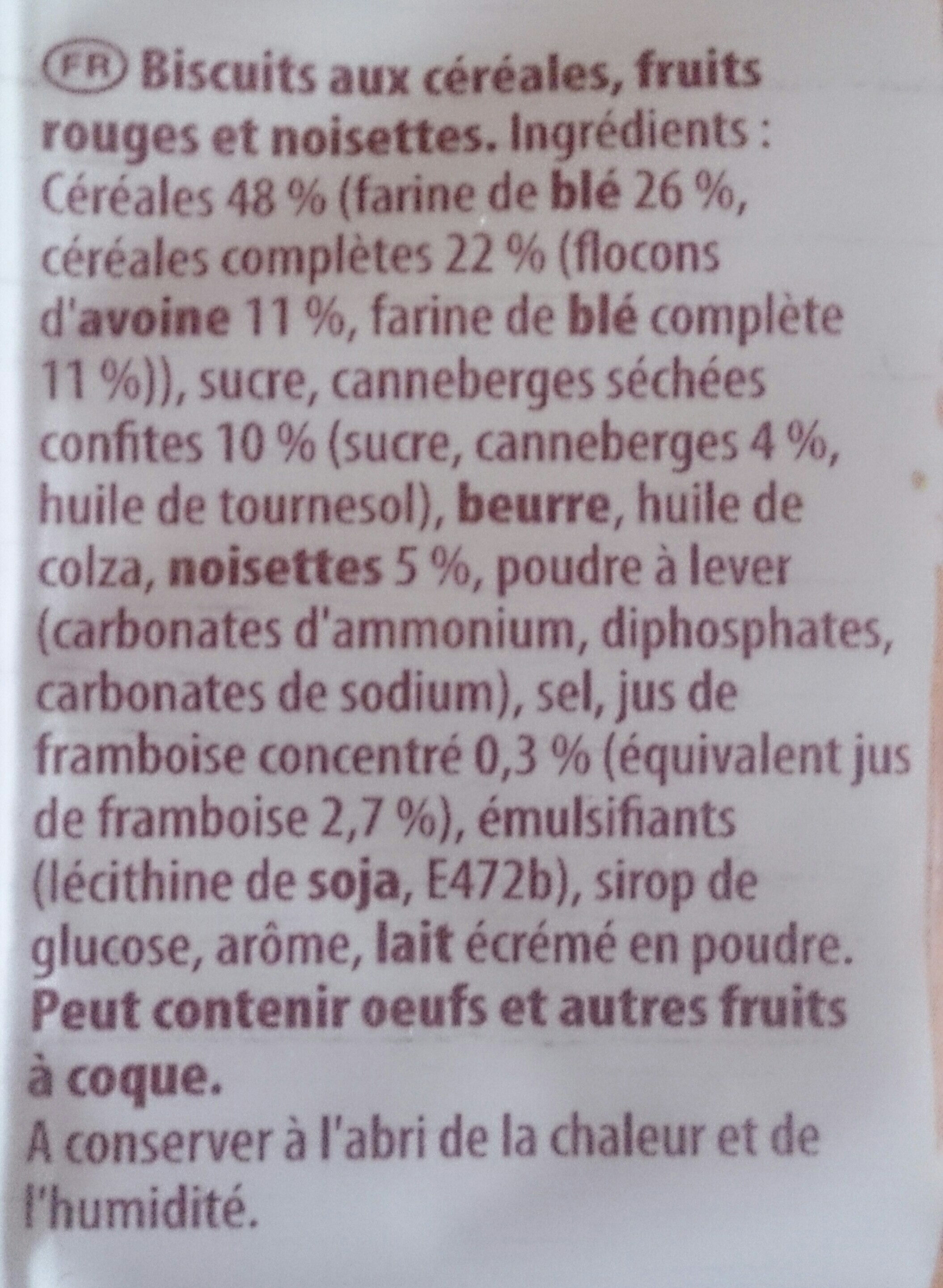Cookie de Lu Fruits rouges noisettes - Ingredients