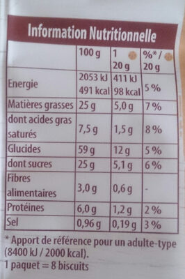 Cookie de Lu Fruits rouges noisettes - Nutrition facts