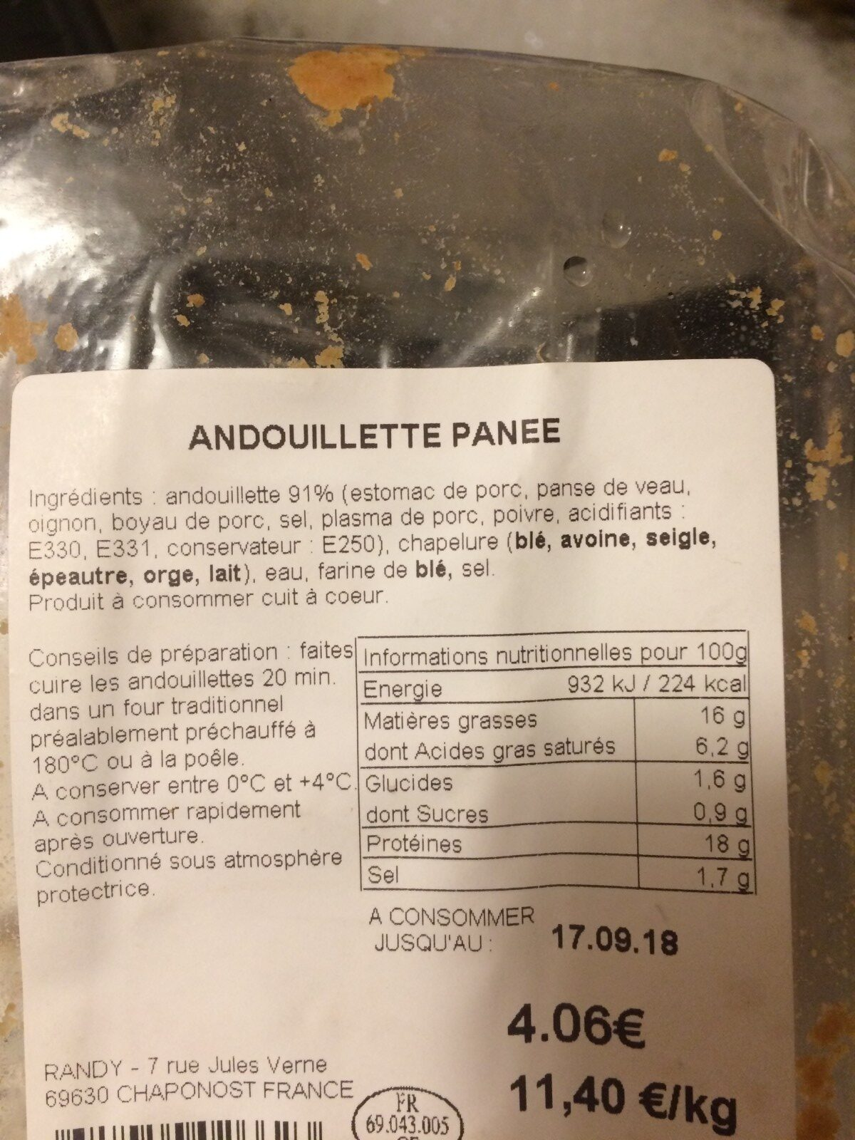 Andouillette panee - Ingrédients - fr