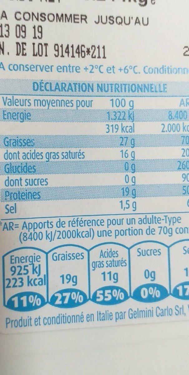Gorgonzola AOP - Nutrition facts
