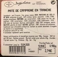 Pate de campagne - Informations nutritionnelles - fr