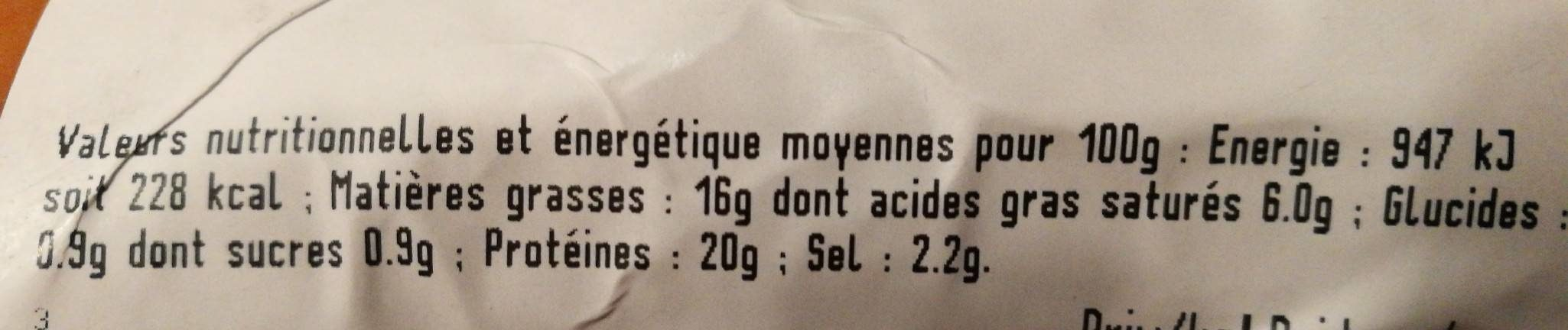 Saucisson à l'ail - Informations nutritionnelles