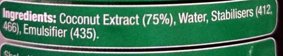 Premium Quality Coconut Milk - Ingredients