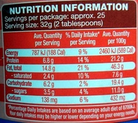 American Style Peanut Butter Crunchy - Nutrition facts