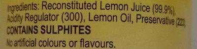 Lemon Juice - Ingredients