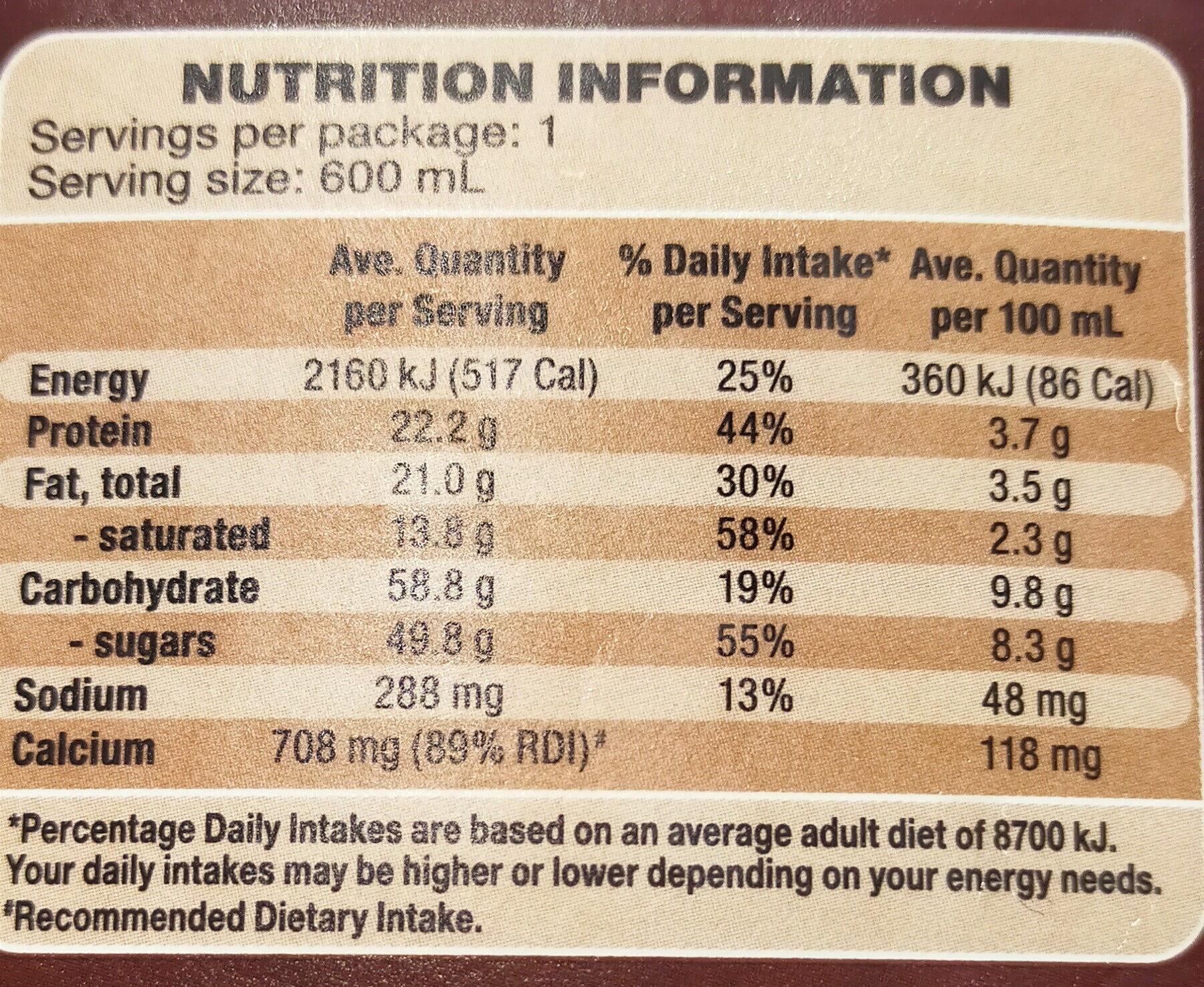 Ram Chocolate Flavoured Milk - Nutrition facts - en