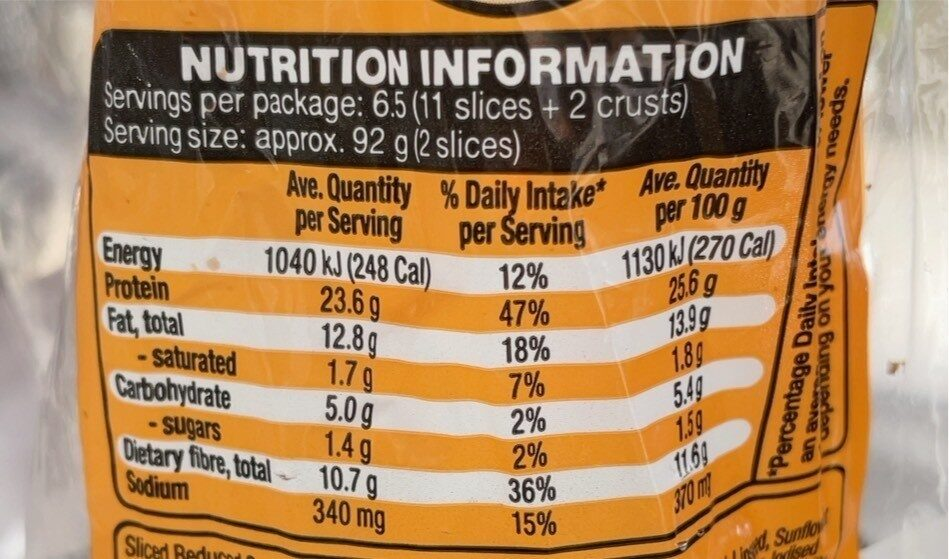 85% Lower Carb, Higher Protein bread - Nutrition facts - en