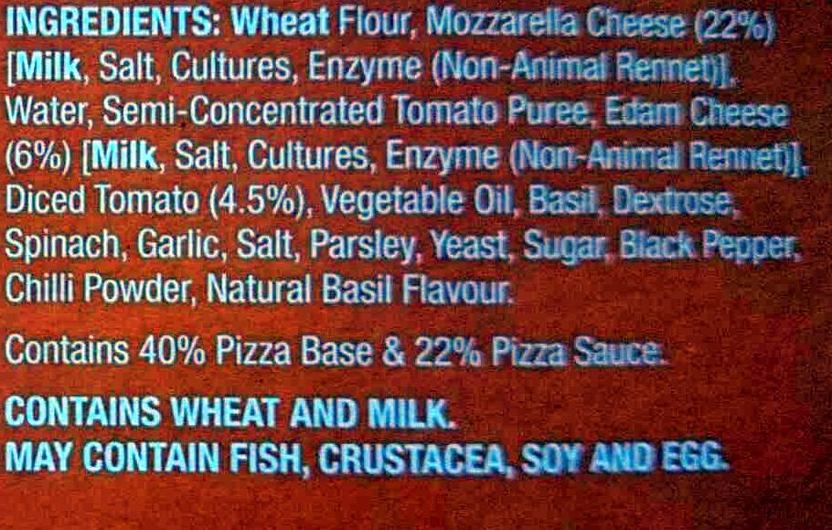 Mozarella Super Thin Stone Baked Pizza - Ingredients - en