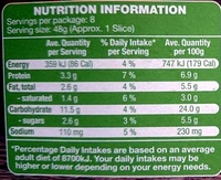 Vegetable Pizza - Nutrition facts