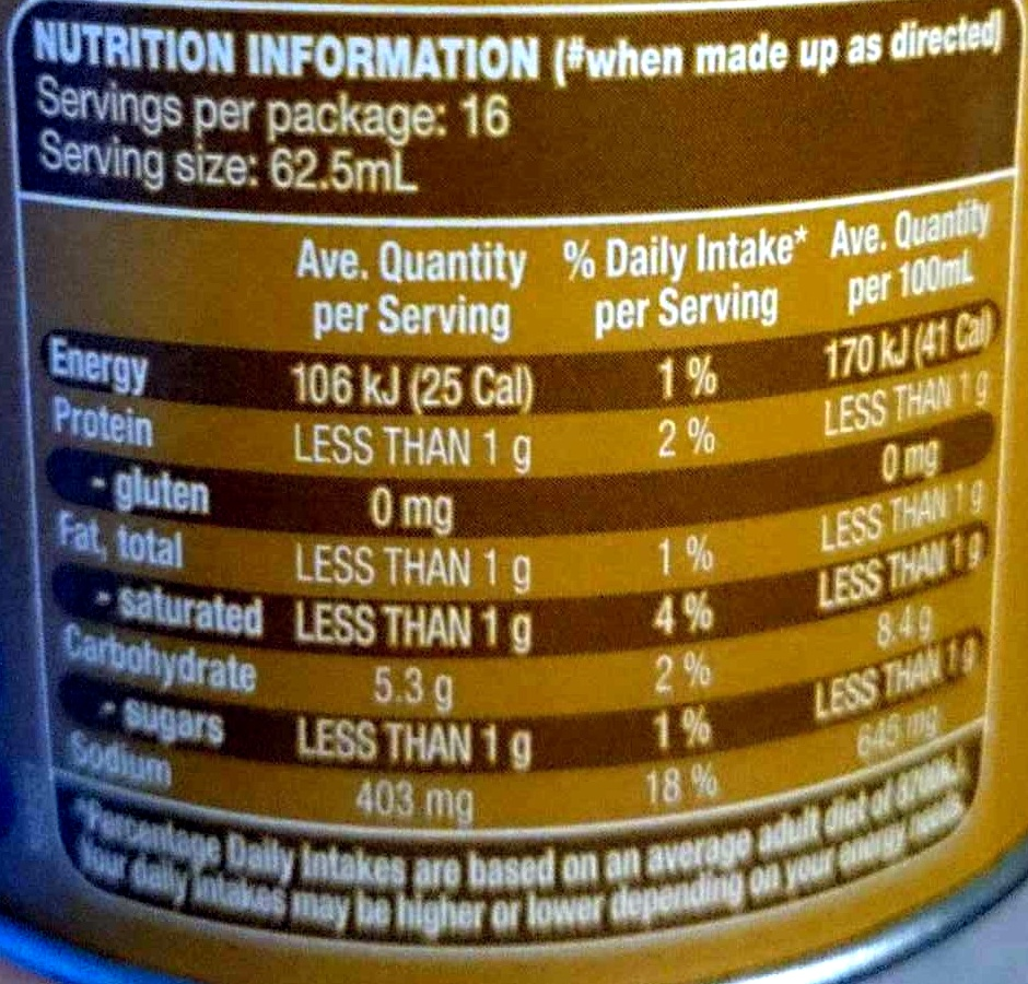 Instant Gravy Mix Traditional - Nutrition facts - en