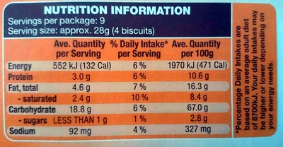 Prista Crispbread Original - Nutrition facts