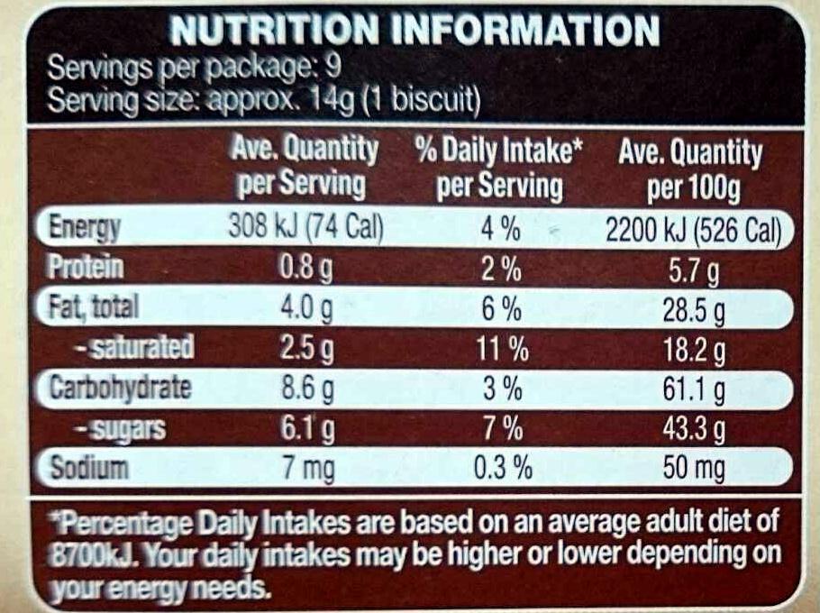 White Chocolate Palazzo Cookies - Voedingswaarden - en