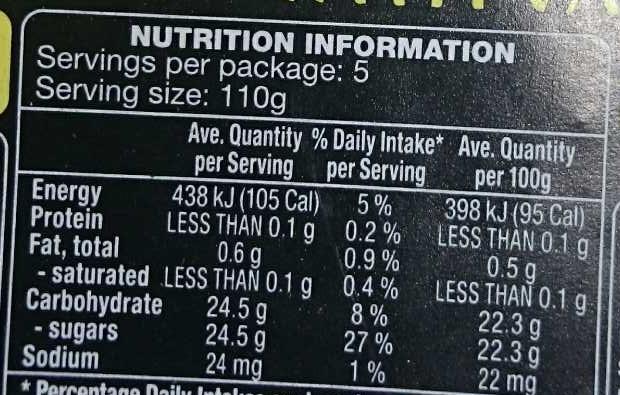 Festive Fruit Pear Halves With Vanilla - Nutrition facts - en