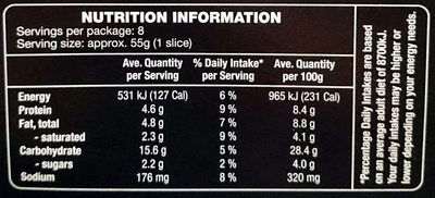 Woodfired Beetroot & Goats Cheese Pizza - Nutrition facts