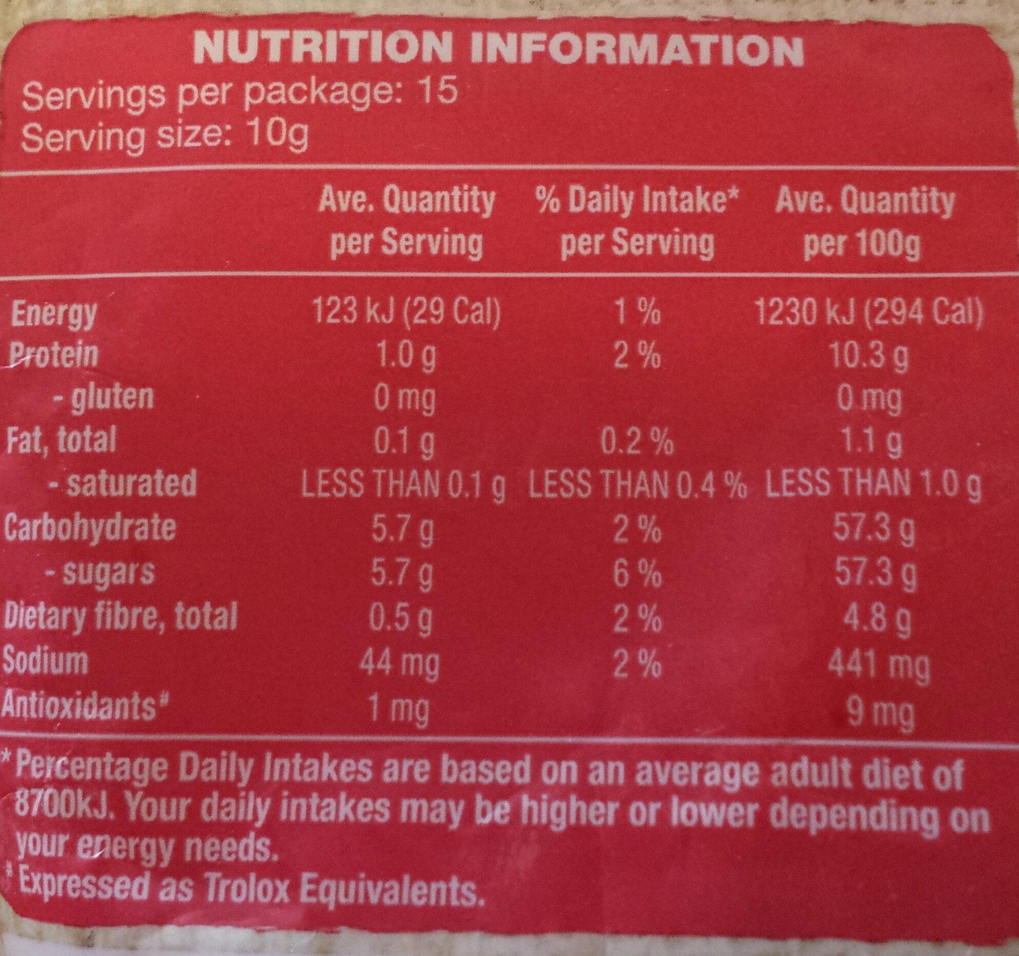 Goji Berries - Nutrition facts