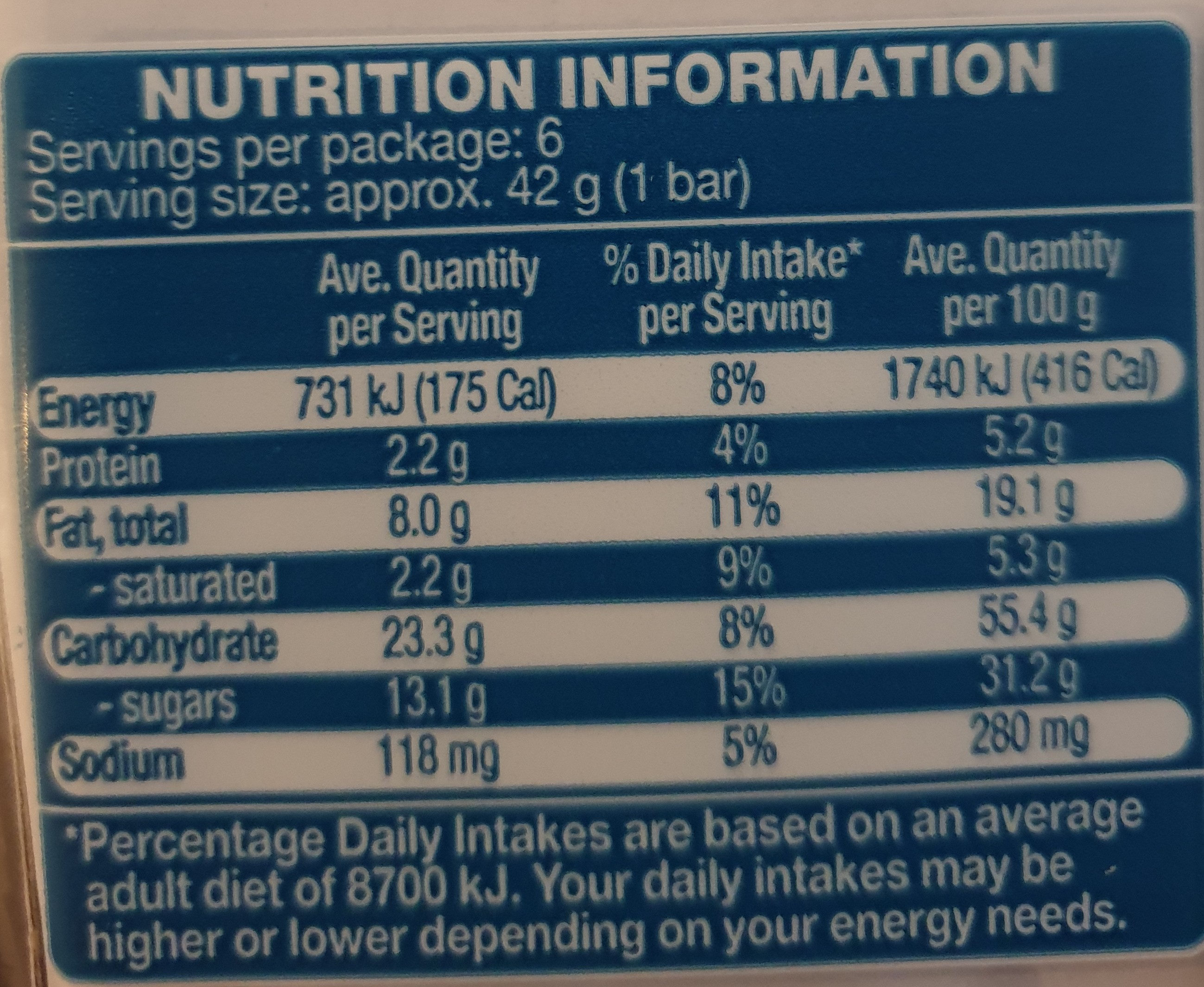 cake bars chocolate chip - Nutrition facts